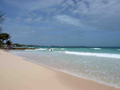 The world renowned white sandy beaches of Barbados