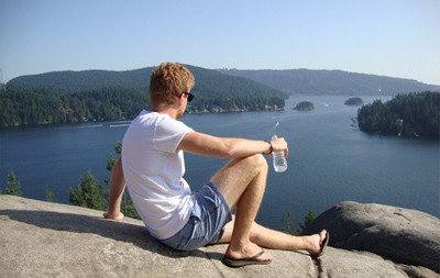 Matt On Holiday In Vancover Canada At Deep Cove Bay