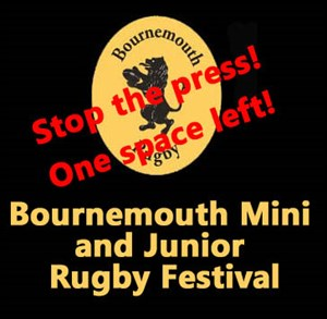 Bournemouth Rugby Festival - only one space left